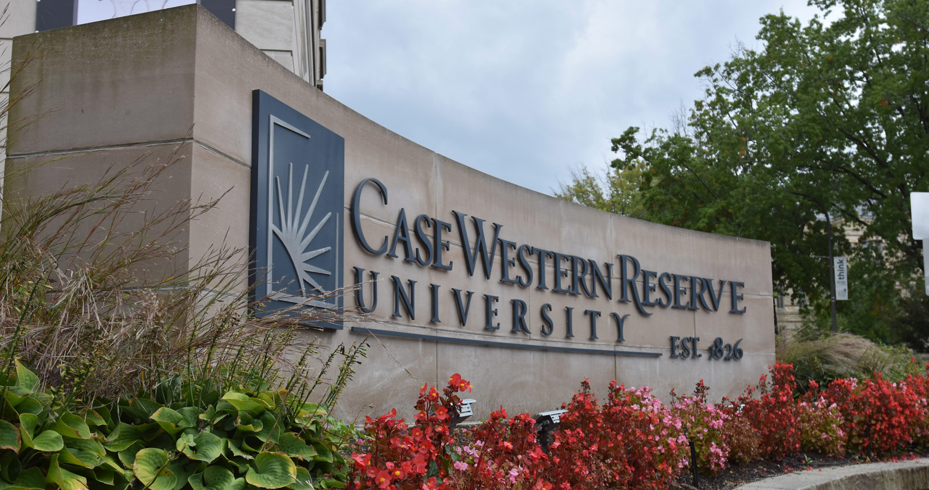 Photo of the Case Western Reserve University signage on the corner of Euclid Avenue and Adelbert Road