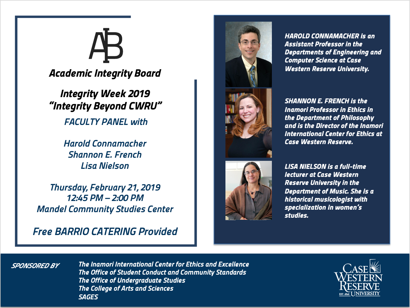 Integrity Week Faculty Panel Flyer - Feb 21 2019