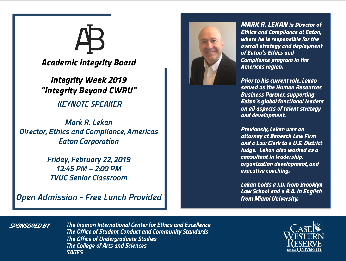 Integrity Week Keynote Flyer - Feb 22 2019