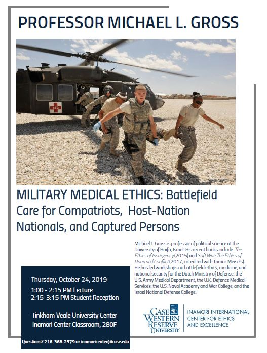 Flyer provides a brief description of the military medical ethics event being held at 1:00pm on 10/14/2019 in Tink room 280F.