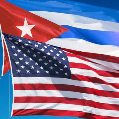 Photo of American and Cuban flags