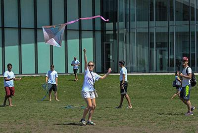 Students flying kites