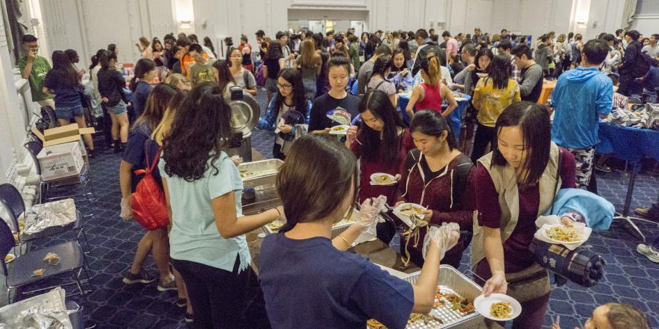 Students enjoying food from various Asian restaurants in Cleveland