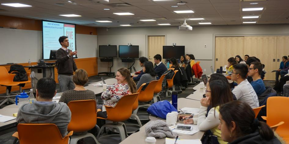 International students learn tips to get noticed in the U.S. job market from author Marcelo Barros
