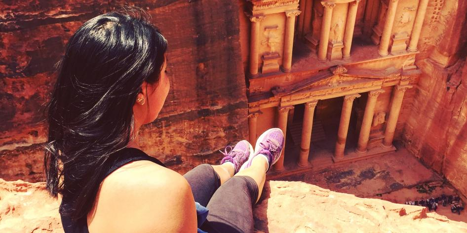 Study Abroad student looking down at Petra