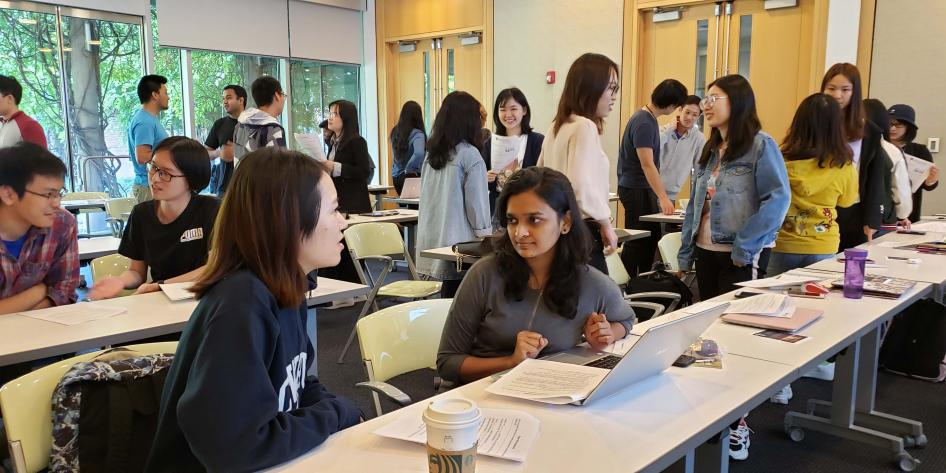 International students practice networking skills