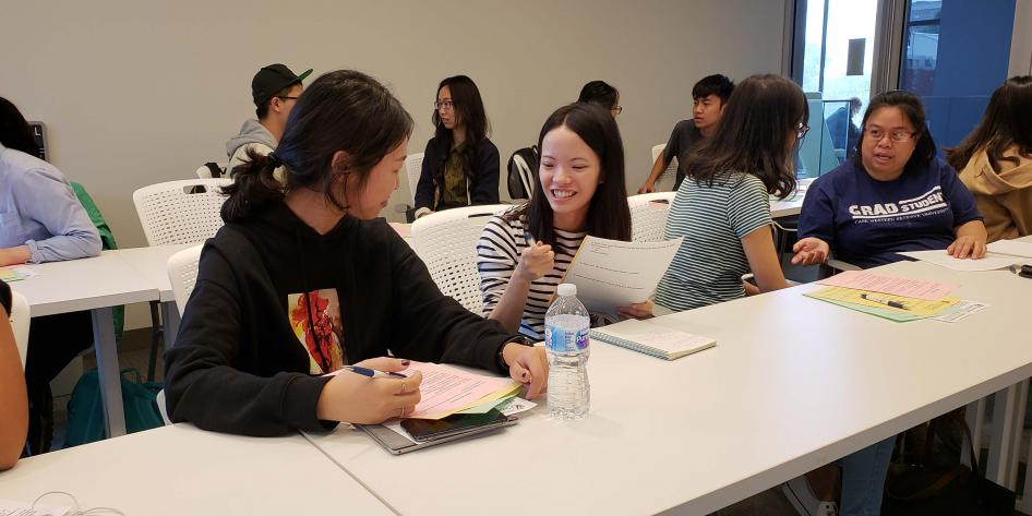 International Students work on interviewing techniques