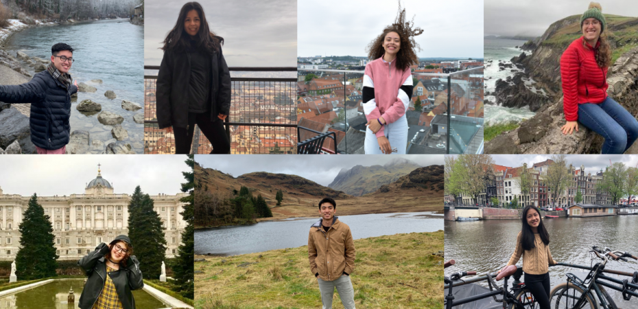 A collage of pictures of the seven students who are Study Abroad Ambassadors for the 2020-2021 year
