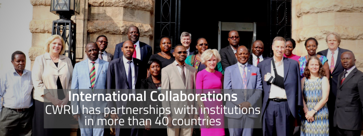A picture of leaders from CWRU & Makerere University with text that reads: International Collaborations - CWRU has partnerships with institutions in more than 40 countries