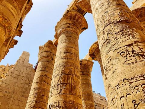 A picture of columns in the Temple of Karnak in Luxor, Egypt