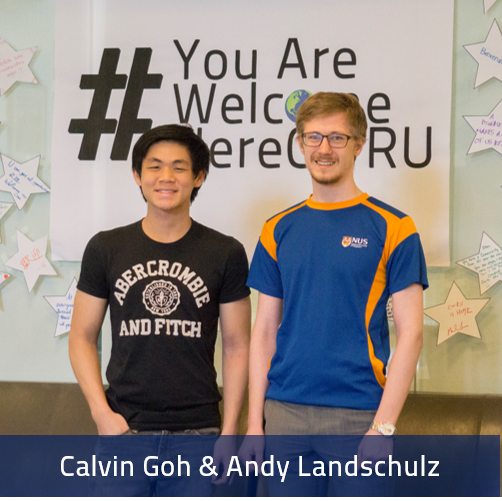 Calvin Goh and Andy Landschulz pose for a picture in Tomlinson Hall