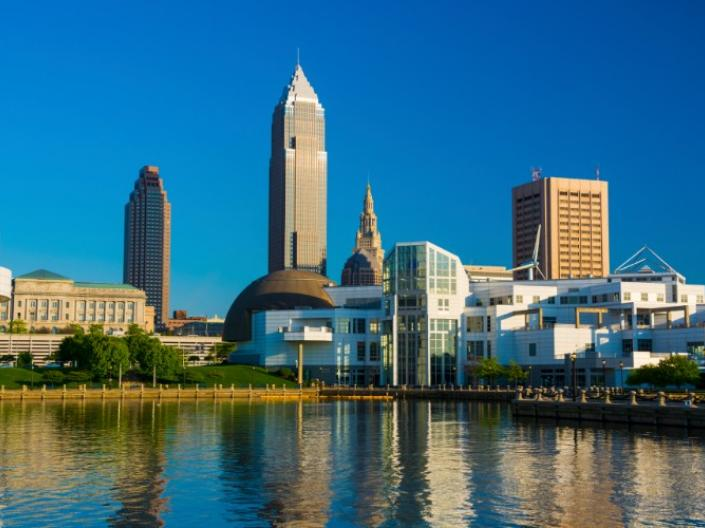 The city of Cleveland overlooking a river