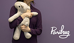 Parahug title with person holding a teddy bear against purple background