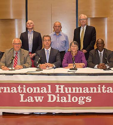 Former prosecutors, renowned academics, and legal experts attending the International Humanitarian Law Roundtable