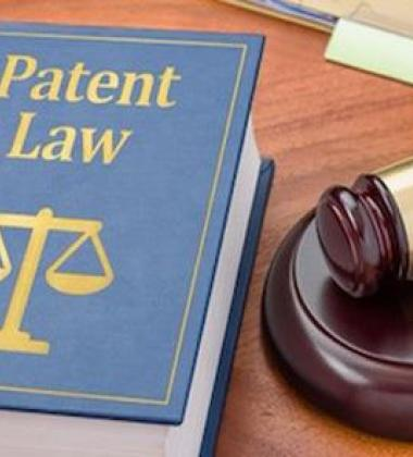 Image of gavel and patent law textbook