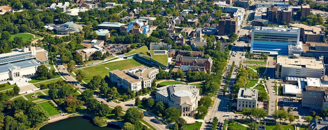 Aerial view of the Case Western Reserve University Campus