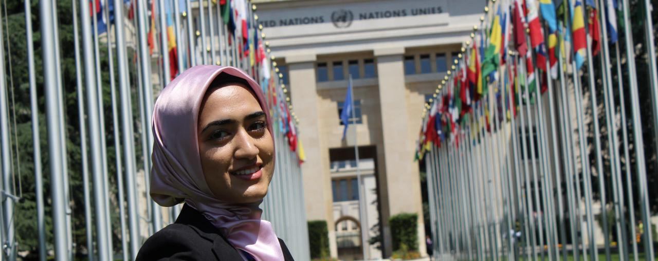 An image of a Case Western Reserve Law student in front of the United Nations