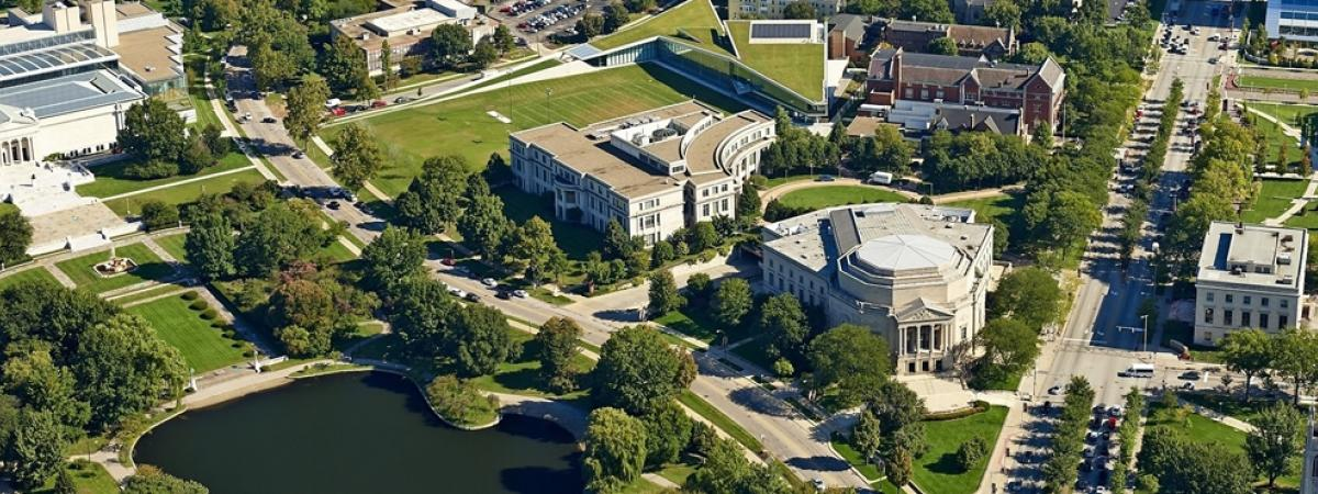 Arial view of university circle, including Severance Hall, Kelvin Smith Library, Tinkham Veale University Center, and the Cleveland Museum of Art