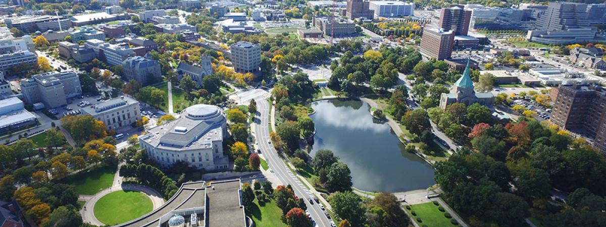 Aerial view of Case Western Reserve University campus overlooking Wade Lagoon
