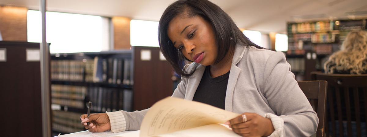 Case Western Reserve Law student working in the library