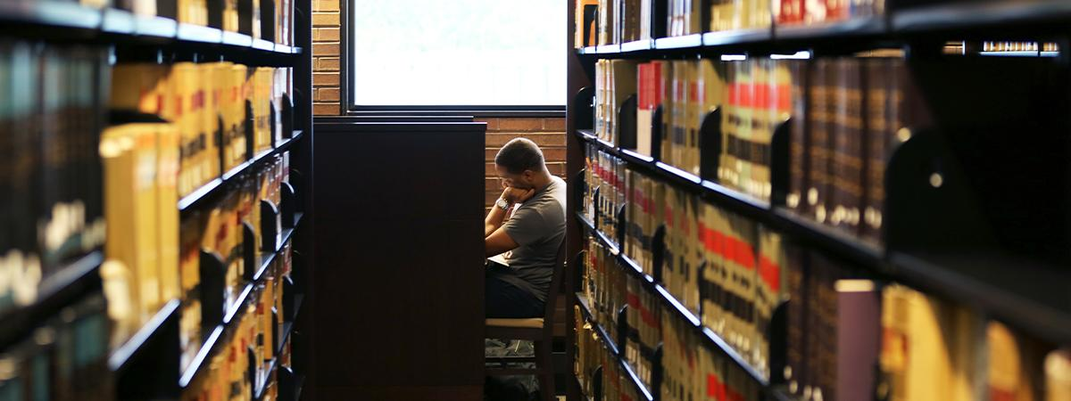 Library photo of student studying.
