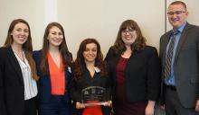 Vis team members (L to R) are 2Ls Teresa Azzam and Kathleen Burke and 1Ls Kristina Aiad-Toss, Emma Green and Jamison King
