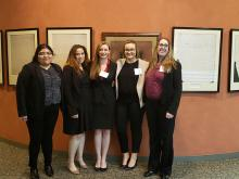 International Criminal Court Moot Court Team members (Left to Right) Adrianna Velazquez-Martinez 2L, Jazmine Edwards 1L,Caroline Ford 1L, Kelsey Smith 3L, and Gloria Neilson 2L