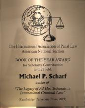 photo of the  Association Internationale de Droit Penal's 2019 Book of the Year Award