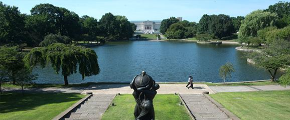 view of cleveland museum of art, looking over wade lagoon