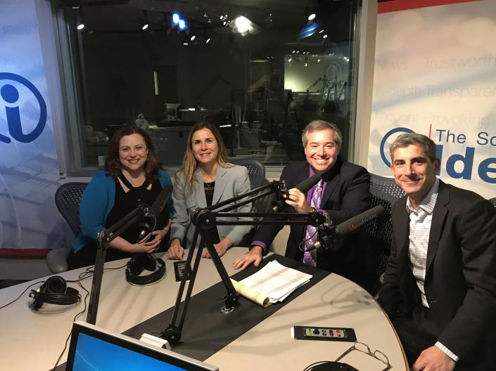 Photo of dean Scharf and guests during an episode of Talking Foreign P