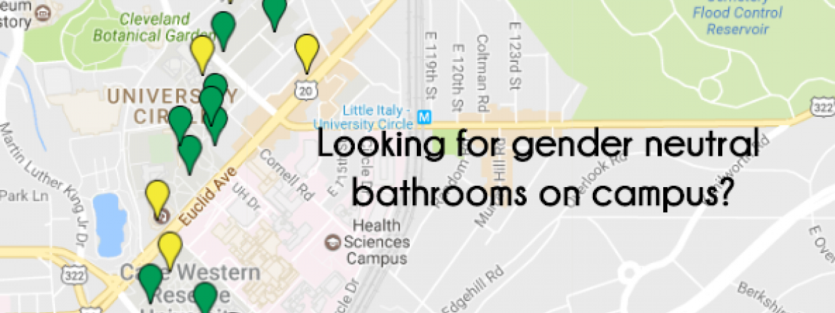 map of gender inclusive and all gender bathrooms