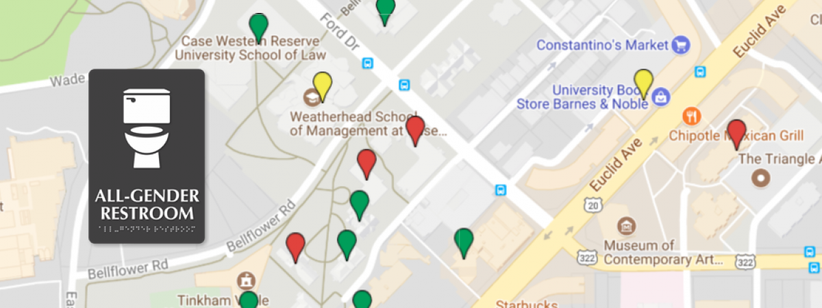 Google map of campus with a gray all gender bathroom sign