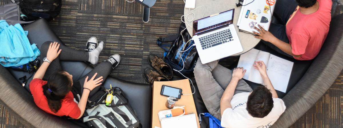 Overhead View of Students Studying in the library