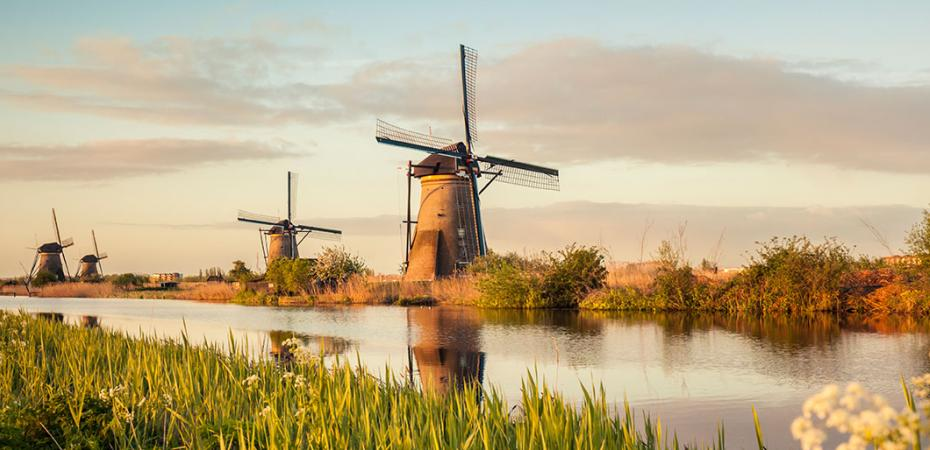 Scenic view of the windmills in the Netherlands