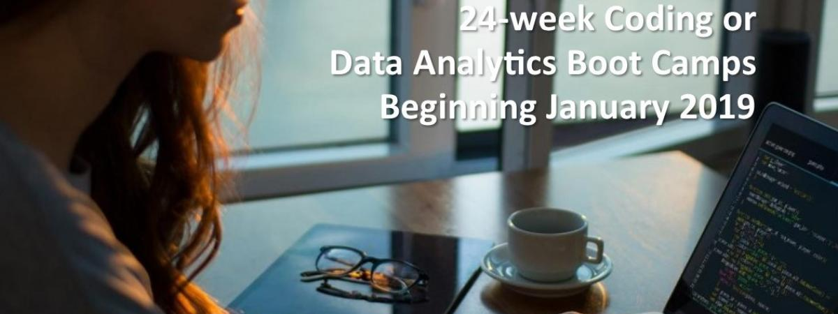24-week Coding or Data Analytics Boot Camps Beginning January 2019