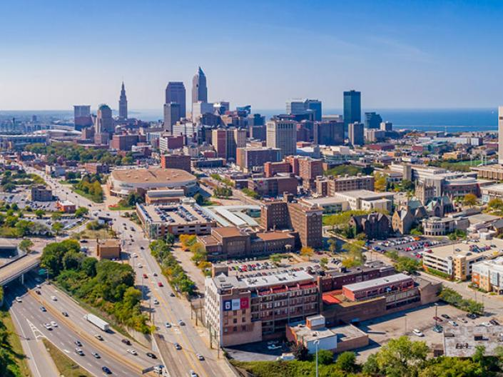Downtown Cleveland in the summer