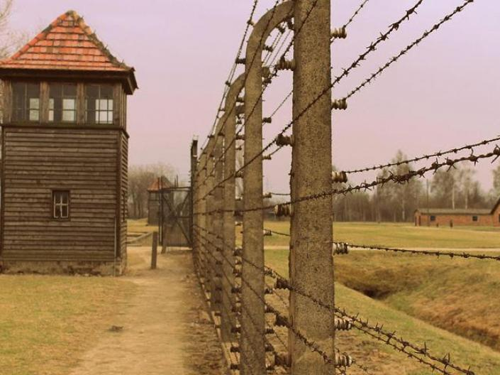 Jewish concentration camp with barbed wire from Holocaust in Poland
