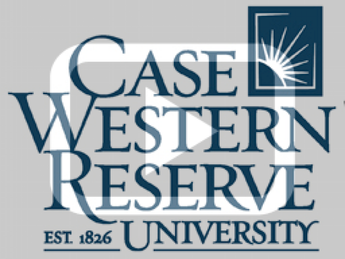 Case Western Reserve University Logo with a video player symbol on top