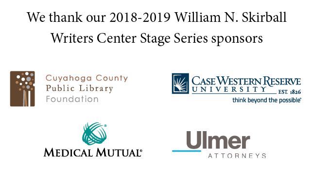 Sponsor logos for Writers Center Stage 2018: Cuyahoga County Public Lubrary, CWRU, Medical Mutual, Ulmer Attorneys