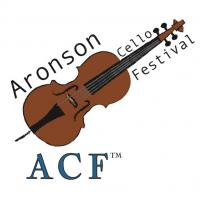 "cello with ""aronson cello festival"" written around it with ""ACF"" written underneath the cello"