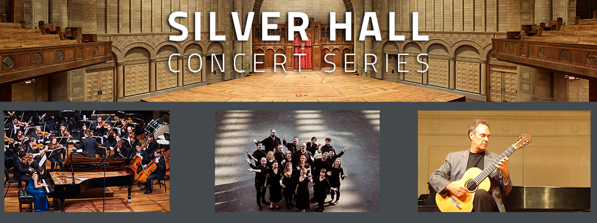 Text of Silver Hall Concert series with 3 images below of musicians with instruments in hand