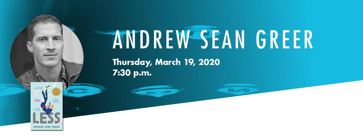 Banner image with andrew sean greer headshot and his book less