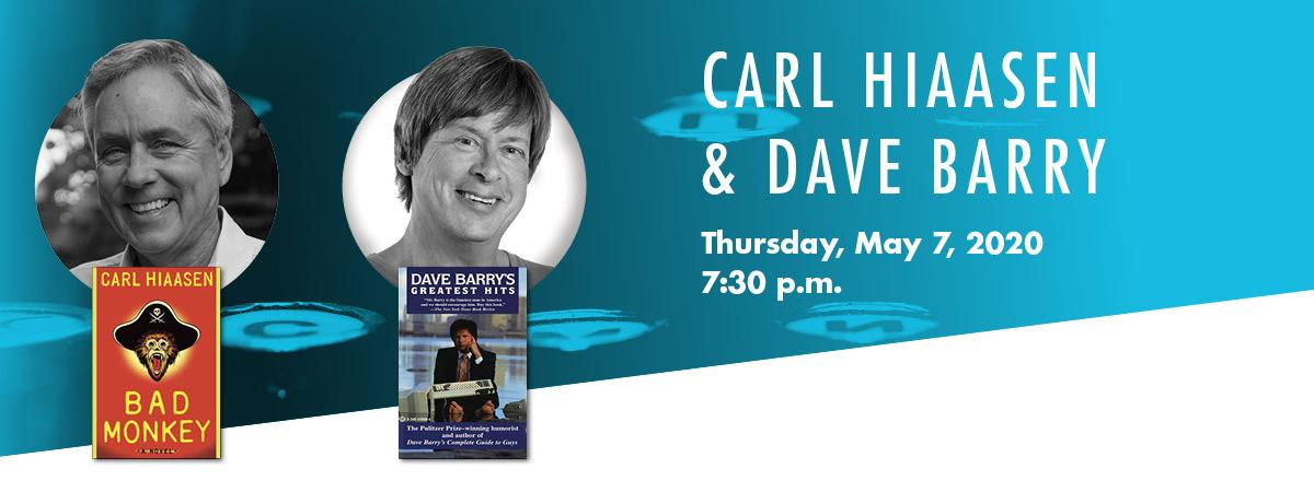 Banner image with carl hiaasen headshot and his book bad monkey and dave barry and his book dave barry's greatest hits