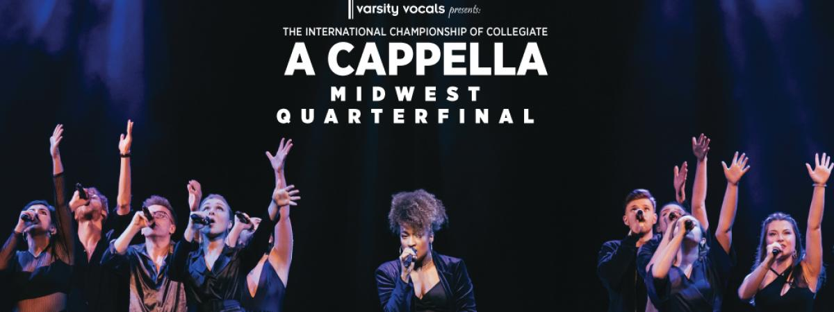 Singers pointing to the sky and one singer in the middle looking at the camera with the ICCA logo on top
