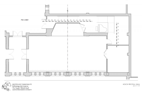 rendering of koch recital hall without seats