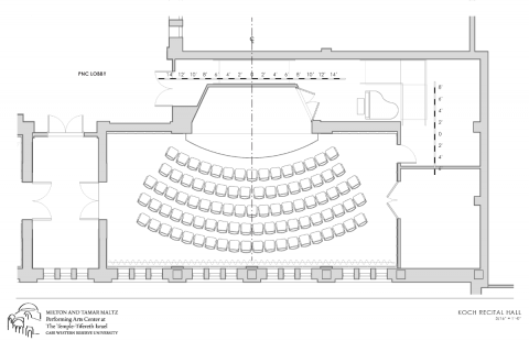 rendering of koch recital hall with seats