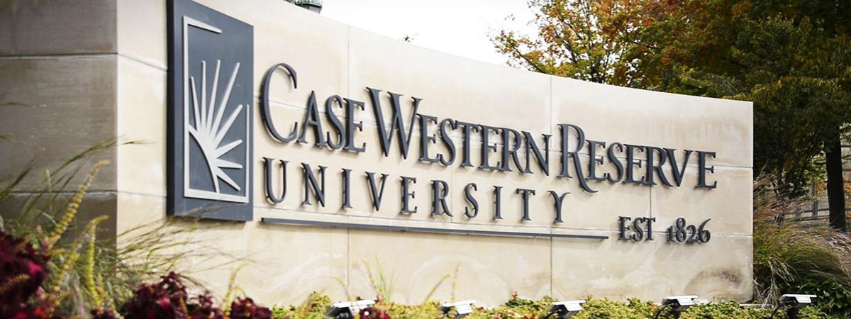 Image of Case Western Reserve University name plate.