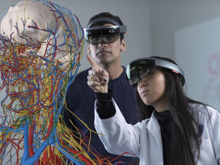 Students using HoloLens