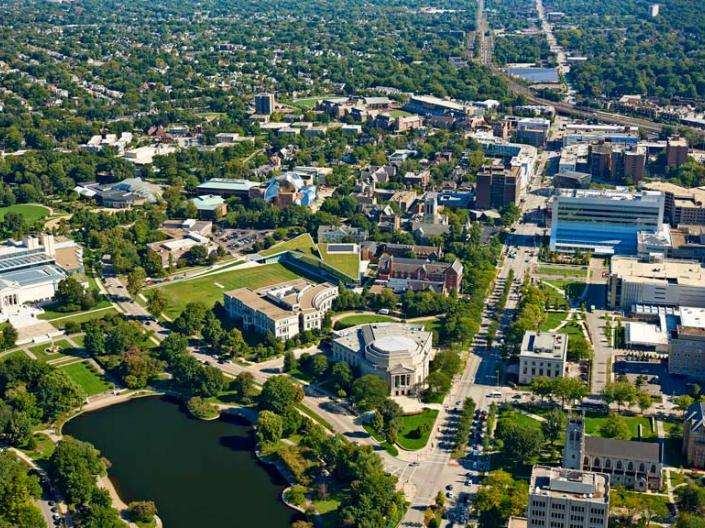 Aerial shot of Case Western Reserve University campus.