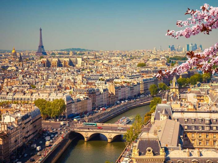 Aerial picture of the city of Paris in the spring.